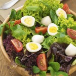 Mixed green salad with tomatoes, hard boiled eggs and buffalo mozzarella cheese