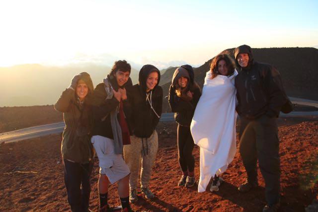 Katz family sunrise atop Haleakala Volcano