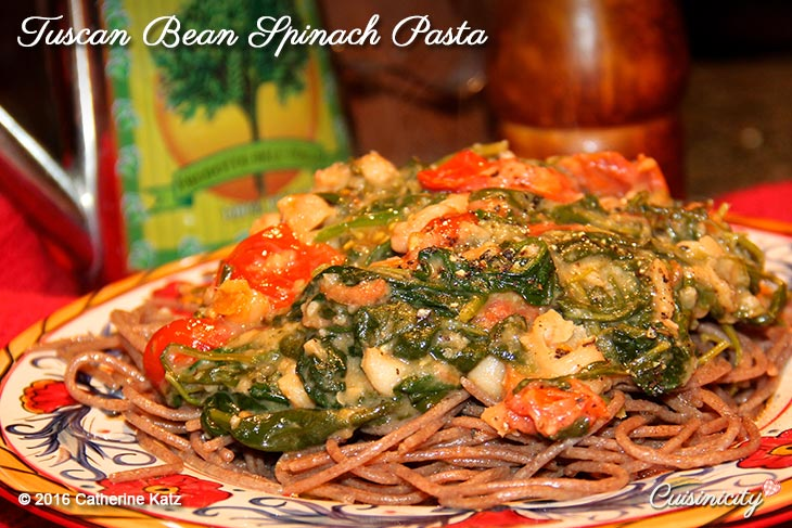 Tuscan Bean Spinach Pasta on a French country plate
