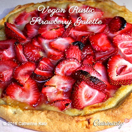 Square feature photo of Vegan Rustic Strawberry Galette: strawberries on crust
