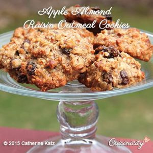 Apple Almond Raisin Oatmeal Cookies