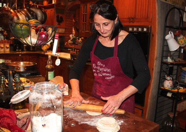 Cuisinicity Renaissance - Catherine rolls dough for turkish christmas