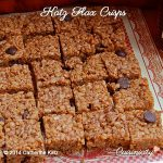 A sheet of Katz Flax Crisps cut into 24 squares with protruding chocolate chips on an ornate red and white placemat
