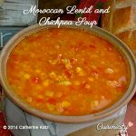 Pot of Moroccan Lentil and Chickpea Soup sits on an assortment of festive cloth napkins