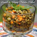 French Lentil & Sweet Potato Salad in a glass with stem