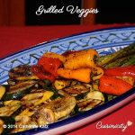 Grilled Veggies on an oval decorative blue and white plate