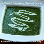 Sweet Pea and Spinach Soup in a white square bowl