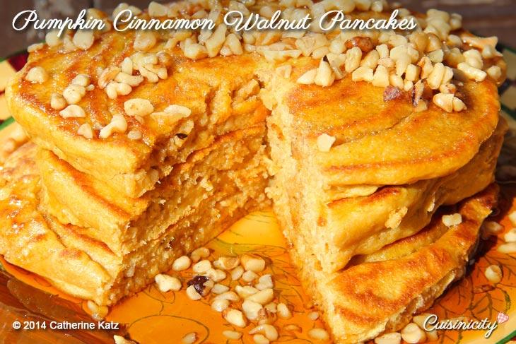 Pumpkin Cinnamon Walnut Pancakes