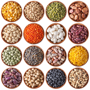 collection of different legumes isolated on white