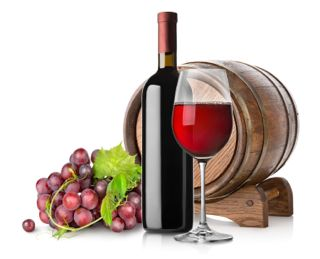 Grape, wine and a wooden barrel isolated on white