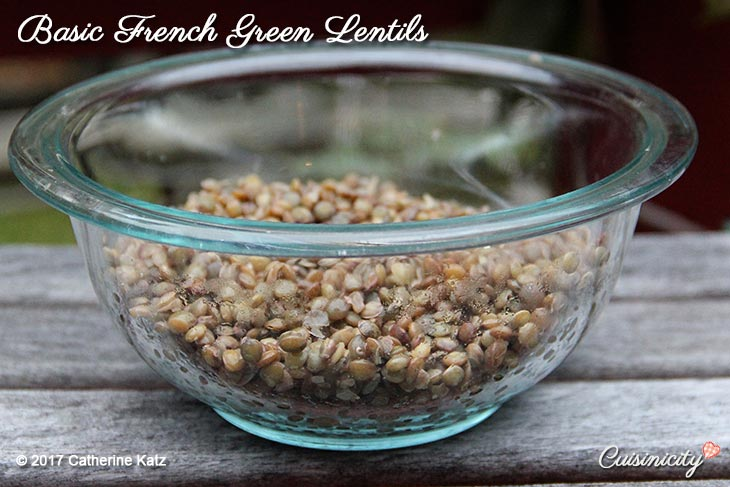 Basic French Lentils half-fill a large see-through bowl on an outdoor grey picnic table