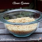 Basic Quinoa on a picnic table in a large glass bowl