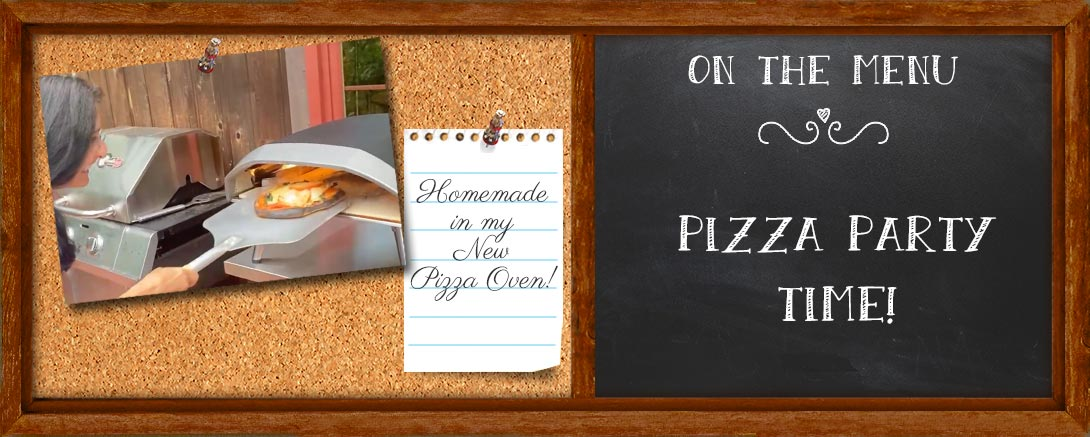 Pizza Oven Recipes blog post blackboard. Catherine Katz takes